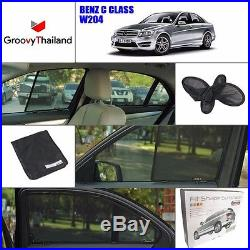 2 Pcs Front Foldable Mesh Curtain Car Sun Shade Assembly Fit Benz C Class W204