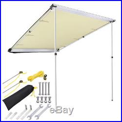 4.6x6.6' Car Side Awning Rooftop Tent Sun Shade SUV Outdoor Camping Travel Beige