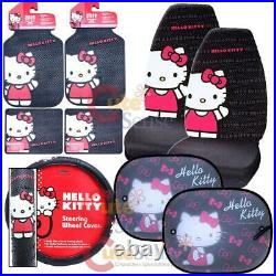 Hello kitty Core Car Seat Covers Accessories Complete 9pc Set with Sunshade