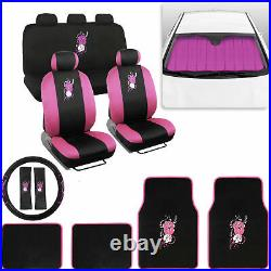 Pink Car Accessory Gift Set Sunshade Floor Mats Seat Covers Steering Wheel Cover