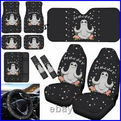 Sloth Car Front Seat Covers Floor Mats Sunshade 11pcs Full Set Auto Accessories